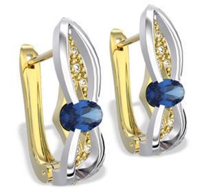 Kolczyki z żółtego i białego złota z szafirami i diamentami LPK-39ZB - 2824314585