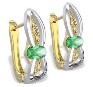 Kolczyki z żółtego i białego złota ze szmaragdami i diamentami LPK-39ZB - 2824314586