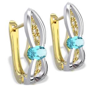 Kolczyki z żółtego i białego złota z topazami i diamentami LPK-39ZB - 2824314587