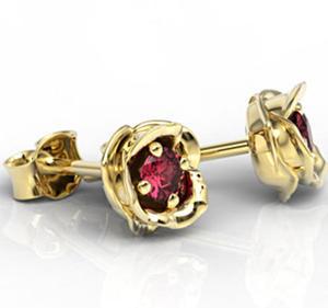 Kolczyki z żółtego złota z rubinami LPK-4221Z - 2824314606