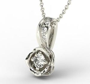 Wisiorek z białego złota z brylantem LPW-4221B - Białe \ Diament - 2824314608