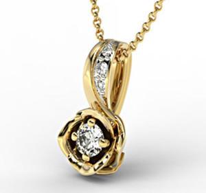Wisiorek z żółtego złota z brylantem LPW-4221Z-R - Żółte z rodowaniem \ Diament - 2824314609