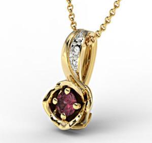 Wisiorek z żółtego złota z rubinem i brylantami LPW-4221Z-R - Żółte z rodowaniem \ Rubin - 2824314610