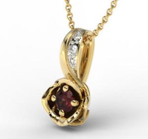 Wisiorek z żółtego złota z granatem i brylantami LPW-4221Z-R - Żółte z rodowaniem \ Granat - 2824314611