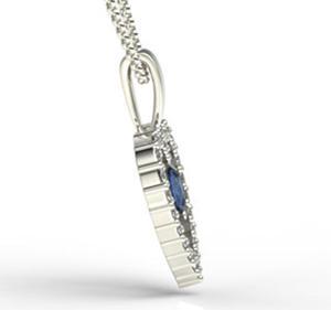 Wisiorek z białego złota z szafiem i diamentami LPW-54B - 2824314672