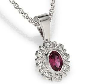 Wisiorek z białego złota z rubinem i diamentami LPW-57B - 2824314692