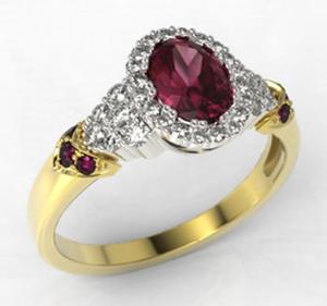 Pierścionek z żółtego i białego złota wzór LP-65ZB z rubinem i diamentami 0,32 ct. - 2824314713