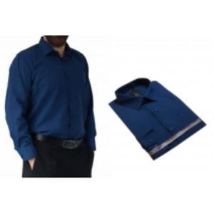 Wizytowa koszula męska GRANATOWA 100% bawełna - 2828945489