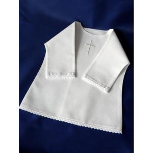 Haftowana szatka do chrztu - koszulka z koronką - 2832285981