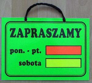 TABLICA INFORMACYJNA - ZAPRASZAMY w godz. (mała) - 2822287308