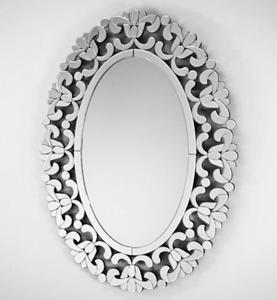 Piękne lustro owalne z ażurową ramą lustrzaną 80x110 - 2826399778