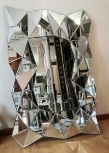 Nowoczesne lustro z ramą lustrzaną 3D - 2834107352