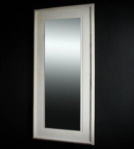 Duże lustro kryształowe w białej ramie przecierane - 2826399258