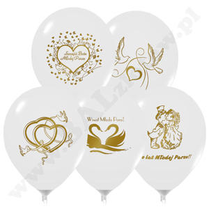 Balony z nadrukiem weselnym 25 szt. - 2824739485