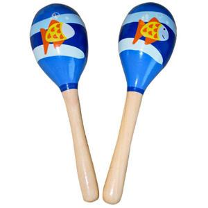 Marakasy 2 szt. drewniane - instrument muzyczny - niebieskie rybka - 2832214569