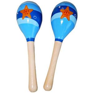 Marakasy 2 szt. drewniane - instrument muzyczny - niebieskie rozgwiazda - 2832214570