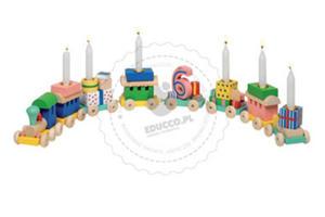 GOKI - Urodzinowy pociąg - zabawki drewniane - GK106 - 2828044654