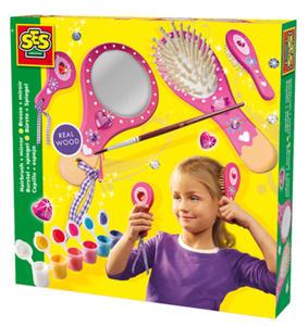 SES Creative - zabawki kreatywne, zabawki plastyczne, zestawy do malowania i modelowania, zabawki edukacyjne - Szczotka do włosów i lusterko - zestaw kreatywny - 14987 - 2828044822