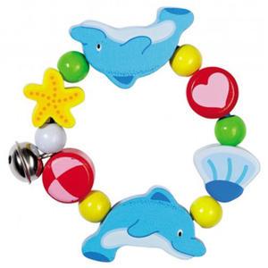 GOKI - Bransoletka - delfinek z dzwoneczkiem - zabawki drewniane - 735590 - 2828044893