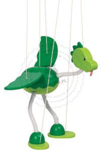 GOKI - Marionetka - zielony dinozaur - zabawki drewniane - 51942 - 2828044433