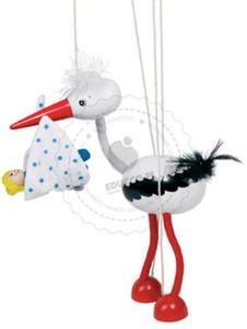 GOKI - Bocian z noworodkiem w dziobie - marionetka - zabawki drewniane - 51943 - 2828044435