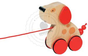 GOKI - Piesek z kolorowymi uszami - zabawki do ciągania - zabawki drewniane - 54942 - 2828044445