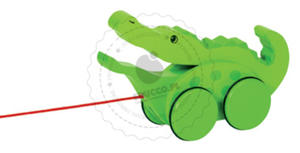 GOKI - Krokodyl ruszający paszczą - zabawki do ciągania - zabawki drewniane - 54952 - 2828044534