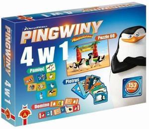 4w1 Domino Puzzle Karty Pingwiny z Madagaskaru - 2832624354