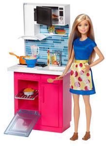 Lalka Barbie w kuchni akcesoria Mattel DVX54 - 2845958311
