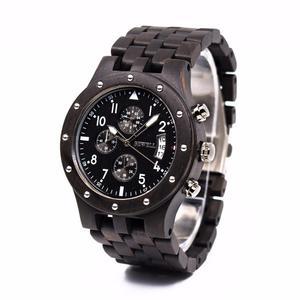 Drewniany zegarek Bewell Chronograf + szkatu - 2859220586