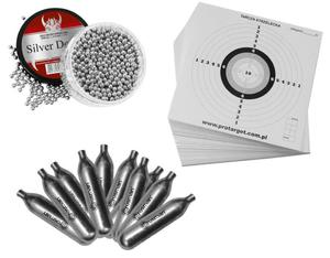 Zestaw BB's ARI 1500 szt. 4,46 mm + kapsuły CO2 + tarcze strzeleckie - 2827841121
