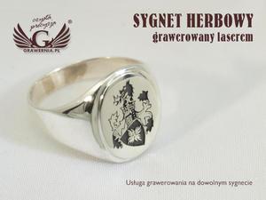 Usługa grawerowania herbów na sygnetach - sygnety herbowe - SY015 - 2827299941