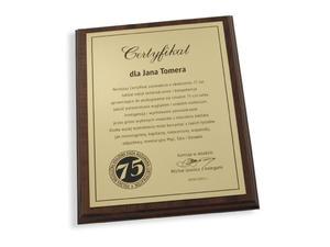 36780dc516b3a Certyfikat Jubileuszowy - dyplom na podkładzie drewnianym - 2827300118
