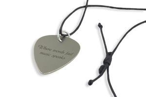 Naszyjnik gitarzysty i gitarzystki - kostka do gry na gitarze z własną grafiką i tekstem - stal - KG06 - 2827300291