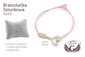 Bransoletka sznurkowa KLUCZ - Nowe Srebro - BNS008 - 2865979709