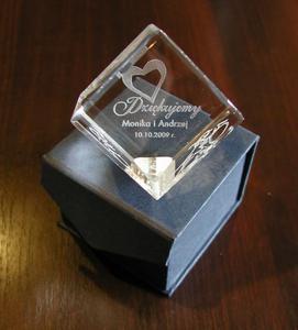Trofeum szklane - SZEŚCIAN - ślub, rocznica, podziękowanie - 2827299185