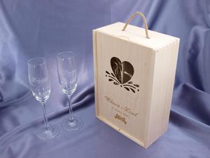 Skrzynka drewniana z kieliszkami na ślub lub rocznicę - SK01 - 2827299495