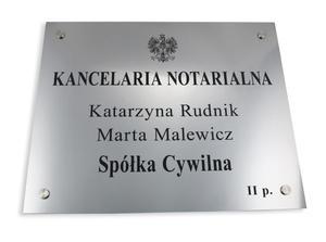 SZYLD NOTARIUSZA - szyld główny dwunazwiskowy dla spółki cywilnej - SZ025 - wym. 50x40cm - 2827299576