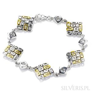 Bransoletka srebrna cyrkonie złocona - 2840747232