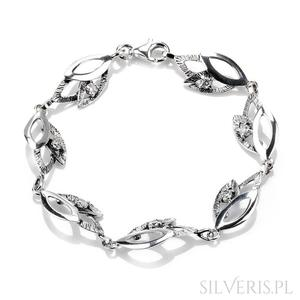 Bransoletka srebrna liście z cyrkonią - 2840747233