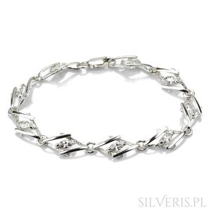 Bransoletka srebrna z cyrkonią romby - 2845626898