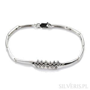 Bransoletka srebrna zygzak z cyrkoniami - 2840747209