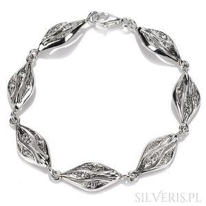 Bransoletka srebrna z cyrkoniami - 2847505496