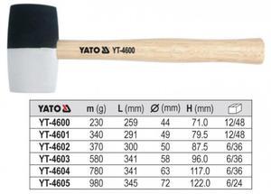 YATO Młotek gumowy z drew trzonkiem 230g YT-4600 - 1633254791