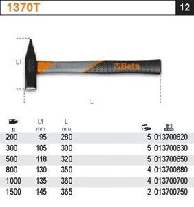 Beta 1370T/500 Młotek ślusarski 500g trzonek z tworzywa sztucznego - 1633255023