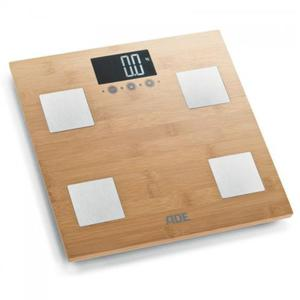 Barbara - bambusowa waga łazienkowa z analizą masy ciała, do 150 kg, 30×30 cm ADE - 2879944265