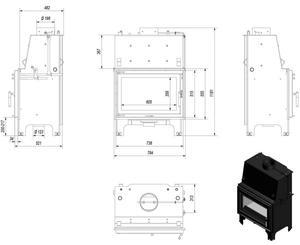 30045552 Wkład kominkowy 12kW AQUARIO O12 z płaszczem wodnym, wężownicą (szyba prosta) - 2828129039