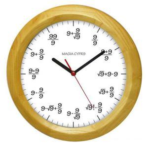Zegar drewniany matma magia cyfry 9 - 2827615086