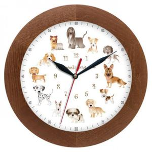 Zegar drewniany solid Pieski Świat #1 - 2827615207