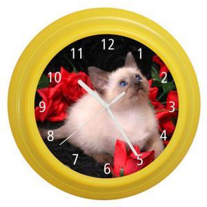 Zegar naścienny kolorowy Kotek #2 - 2827615231
